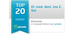 Jameda Auszeichnung zum Top 5 Implantologen für Dr. Gal