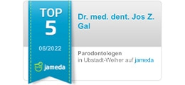 Jameda Auszeichnung zum Top 5 Parodontologen für Dr. Gal